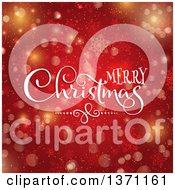 Clipart Of A Merry Christmas Greeting Over Red With Stars Bokeh And Snowflakes Royalty Free Vector Illustration
