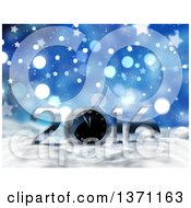 Clipart Of A 3d Clock And New Year 2016 In Snow Over Blue Bokeh And Stars Royalty Free Illustration