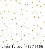 Clipart Of A Golden Stars And Dots On White Background Royalty Free Vector Illustration