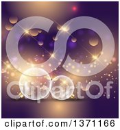 Clipart Of A Christmas Background With 3d Transparent Glass Snowflake Bauble Ornaments Over Purple With Flares Royalty Free Vector Illustration