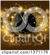Clipart Of A Happy New Year Greeting With A Clock Stars And Flares On Gold Royalty Free Vector Illustration