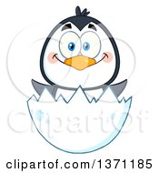 Clipart Of A Happy Penguin Hatching Royalty Free Vector Illustration by Hit Toon
