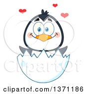 Clipart Of A Happy Penguin Hatching With Love Hearts Royalty Free Vector Illustration by Hit Toon
