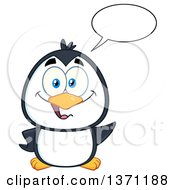 Clipart Of A Happy Penguin Talking And Waving Royalty Free Vector Illustration by Hit Toon
