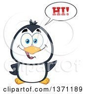 Clipart Of A Happy Penguin Saying Hi And Waving Royalty Free Vector Illustration by Hit Toon
