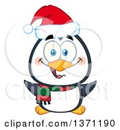 Happy Christmas Penguin Wearing A Santa Hat