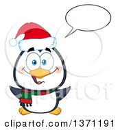 Clipart Of A Happy Christmas Penguin Talking And Wearing A Santa Hat Royalty Free Vector Illustration by Hit Toon