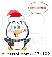 Clipart Of A Happy Christmas Penguin Saying Happy Holidays And Wearing A Santa Hat Royalty Free Vector Illustration by Hit Toon