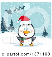 Clipart Of A Happy Christmas Penguin Sitting In The Snow Under Santas Sleigh Royalty Free Vector Illustration