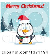 Clipart Of A Happy Christmas Penguin Sitting In The Snow Under Merry Christmas Text Royalty Free Vector Illustration by Hit Toon