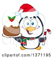 Clipart Of A Christmas Penguin Holding A Plum Pudding Dessert And Candy Cane Royalty Free Vector Illustration by Hit Toon