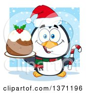 Clipart Of A Christmas Penguin Holding A Plum Pudding Dessert And Candy Cane In The Snow Royalty Free Vector Illustration by Hit Toon