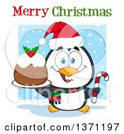 Clipart Of A Penguin Holding A Plum Pudding Dessert And Candy Cane Under Merry Christmas Text Royalty Free Vector Illustration by Hit Toon