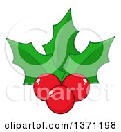 Clipart Of Christmas Holly Leaves And Berries Royalty Free Vector Illustration