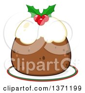 Clipart Of A Christmas Plum Pudding Dessert Royalty Free Vector Illustration by Hit Toon