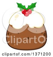 Clipart Of A Christmas Pudding Dessert Royalty Free Vector Illustration by Hit Toon