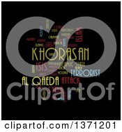 Clipart Of A Colorful KHORASAN ISIS And Al Qaeda Word Tag Collage On Black Royalty Free Illustration