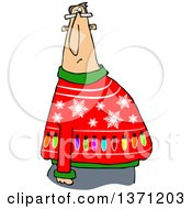 Clipart Of A Cartoon Chubby White Man Wearing A Snowflake And Lights Ugly Christmas Sweater Royalty Free Vector Illustration