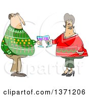 Clipart Of A Cartoon Chubby White Couple Holding Glasses Of Wine And Wearing Ugly Christmas Sweaters At A Party Royalty Free Vector Illustration