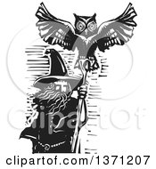Clipart Of A Black And White Woodcut Wizard Merlin With An Owl Royalty Free Vector Illustration