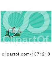 Clipart Of A Retro Woodcut Male Rugby Player Kicking And Turquoise Rays Background Or Business Card Design Royalty Free Illustration