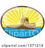 Clipart Of A Retro Woodcut Tugboat In A Sunburst Oval Royalty Free Vector Illustration