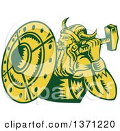 Clipart Of A Retro Green And Yellow Woodcut Male Viking Warrior With A Hammer And Shield Royalty Free Vector Illustration