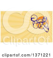 Retro Woodcut Engineer Holding An Ultrasound Sonar Satellite Dish And Yellow Rays Background Or Business Card Design