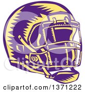 Clipart Of A Purple And Yellow Woodcut American Football Helmet Royalty Free Vector Illustration