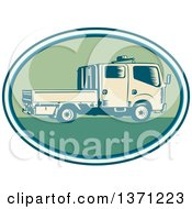 Clipart Of A Retro Woodcut Double Cab Truck In An Oval Royalty Free Vector Illustration