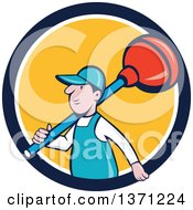 Clipart Of A Retro Cartoon White Male Plumber With A Giant Plunger Over His Shoulder Emerging From A Blue White And Yellow Circle Royalty Free Vector Illustration