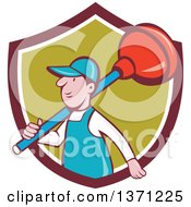 Clipart Of A Retro Cartoon White Male Plumber With A Giant Plunger Over His Shoulder Emerging From A Shield Royalty Free Vector Illustration