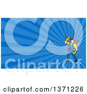 Poster, Art Print Of Cartoon White Male Plumber Carrying A Plunger And Monkey Wrench And Blue Rays Background Or Business Card Design