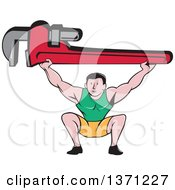 Clipart Of A Retro Cartoon White Male Plumber Bodybuilder Doing Squats With A Giant Monkey Wrench Royalty Free Vector Illustration
