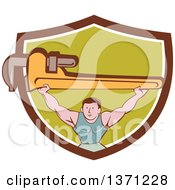 Clipart Of A Retro Cartoon White Male Plumber Bodybuilder Doing Squats With A Giant Monkey Wrench In A Shield Royalty Free Vector Illustration