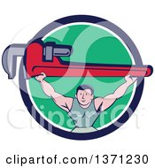 Clipart Of A Retro Cartoon White Male Plumber Bodybuilder Doing Squats With A Giant Monkey Wrench In A Blue White And Green Circle Royalty Free Vector Illustration
