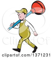 Retro Cartoon White Male Plumber Walking With A Giant Plunger Over His Shoulders