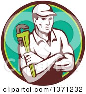 Clipart Of A Retro Male Plumber Holding A Monkey Wrench With Folded Arms In A Brown And Green Circle Royalty Free Vector Illustration