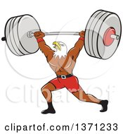 Cartoon Bald Eagle Man Bodybuilder Working Out With A Barbell