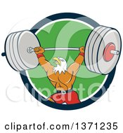 Clipart Of A Cartoon Bald Eagle Man Bodybuilder Working Out With A Barbell In A Blue White And Green Circle Royalty Free Vector Illustration