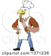 Cartoon Bald Eagle Man Chef Baker Holding A Rolling Pin