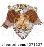Clipart Of A Sketched Bald Eagle Sheriff Badge Shield Royalty Free Vector Illustration
