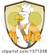 Clipart Of A Cartoon Bald Eagle Man Chef Baker Holding A Rolling Pin In A Shield Royalty Free Vector Illustration