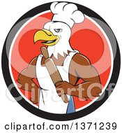 Clipart Of A Cartoon Bald Eagle Man Chef Baker Holding A Rolling Pin In A Black White And Red Circle Royalty Free Vector Illustration