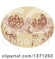 Sketched Scene Of The Last Supper With Jesus And The Apostles In An Oval