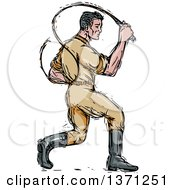 Clipart Of A Sketched Male Lion Tamer Cracking A Bullwhip Royalty Free Vector Illustration