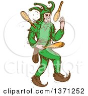 Clipart Of A Sketched Medieval Jester Juggling Royalty Free Vector Illustration