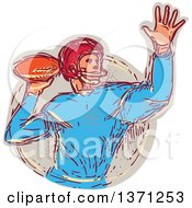 Clipart Of A Sketched Quarterback Football Player Throwing Royalty Free Vector Illustration