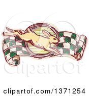 Clipart Of A Sketched Rabbit Leaping Over A Racing Flag Banner Royalty Free Vector Illustration by patrimonio