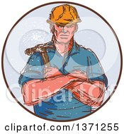 Clipart Of A Retro Sketched Male Builder Holding A Hammer In A Circle Royalty Free Vector Illustration